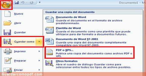 Guardar archivos en pdf